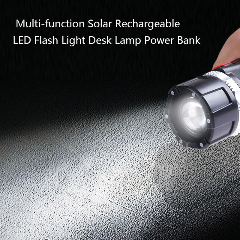 Multi-function Solar Rechargeable LED Flash Light Desk Lamp Power Bank Searching Hunting Patrolling Self-defence Hiking Torch