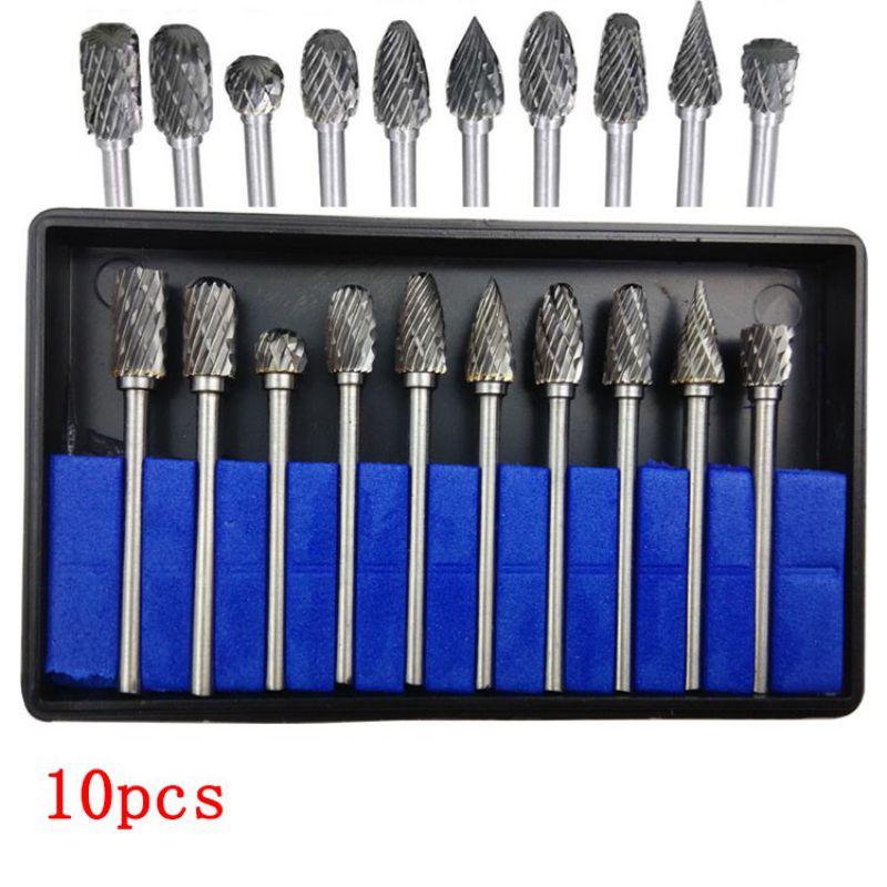 10pc 1/8 Shank Tungsten Carbide Milling Cutter Rotary brocas com escareador hss steel cone drill set diamond drill