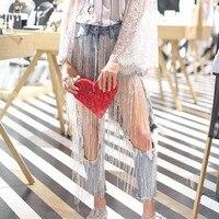 Jeans Femme 2019 Streetwear beading tassel big hole sexy beggar jeans women punk denim pencil pants