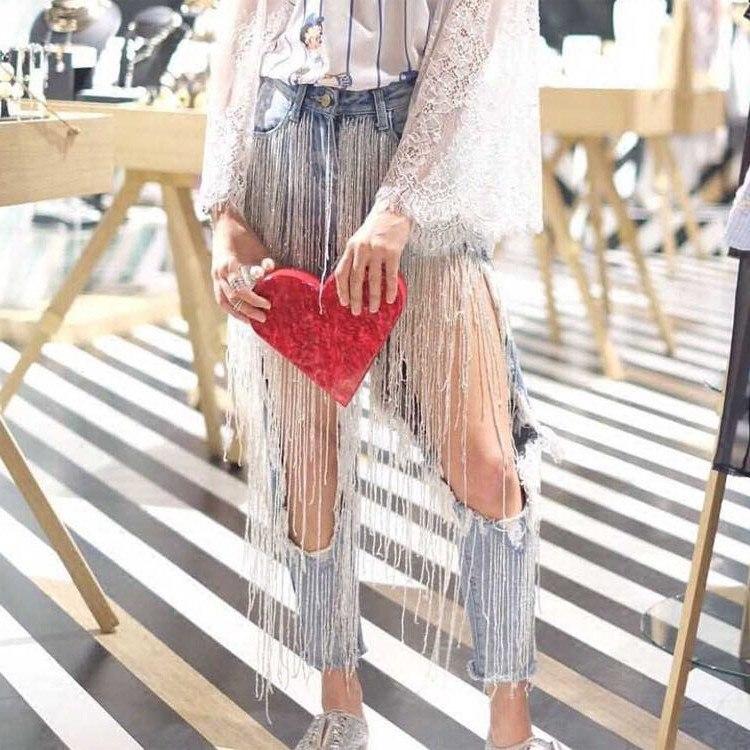 Jeans Femme 2019 Streetwear perles gland grand trou sexy jean déchiré femmes punk denim pantalon moulant