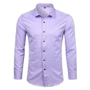 Image 5 - Purple Mens Bamboo Fiber Dress Shirt 2018 Brand New Slim Fit Long Sleeve Chemise Homme Non Iron Easy Care Formal Shirt For Men