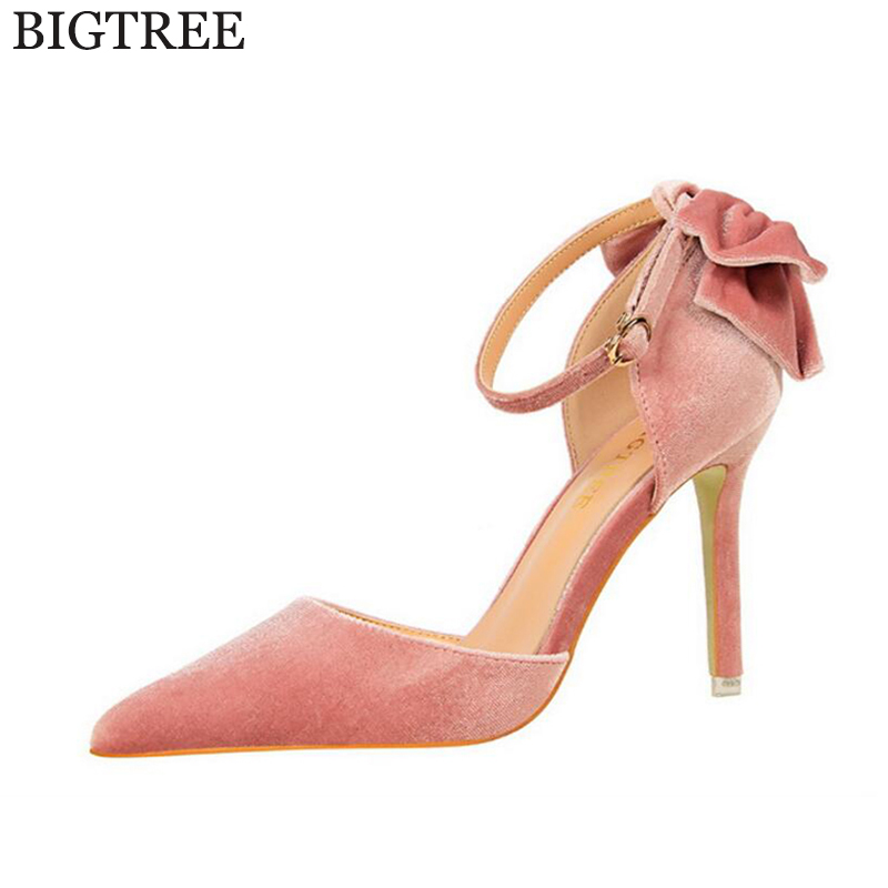 BIGTREE 2017  new  Suede Latest Shoes Women Pumps Spring Pointed Toe Basic Party Thin Buckle High Heels Bow Ladies Shoes new 2017 spring summer women shoes pointed toe high quality brand fashion womens flats ladies plus size 41 sweet flock t179