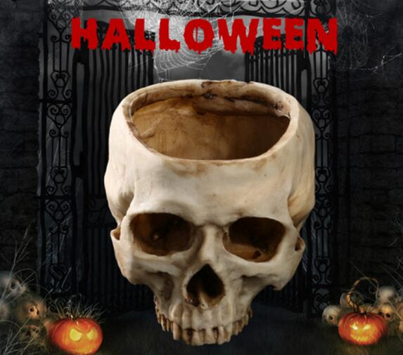 Skull flower pot Halloween props without skull, skull, hollow skull, creativity, tricky decoration, foreign trade goods