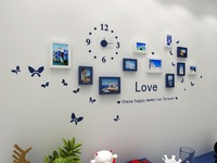 Fashion Wooden Photo Picture Frame Wall Collage Set Of 11 Modern With Wall Clock