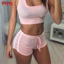 2018 Summer Hot 2 Piece Set Women Tops O- Neck Tracksuit Tee Shirt  Sexy Tank Top Shorts Crop Casual Outfits Laipelar