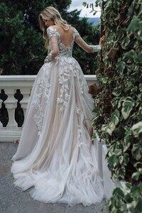 Image 2 - Luxury Long Sleeves Wedding Dresses 2020 A Line V Neck Bridal Wedding Gown Lace Appliques Floor Length Illusion Vestido De Noiva