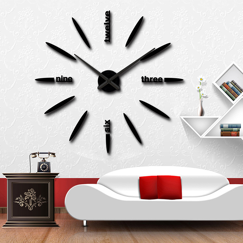 3d large wall clock sticker mirror home decor for living room