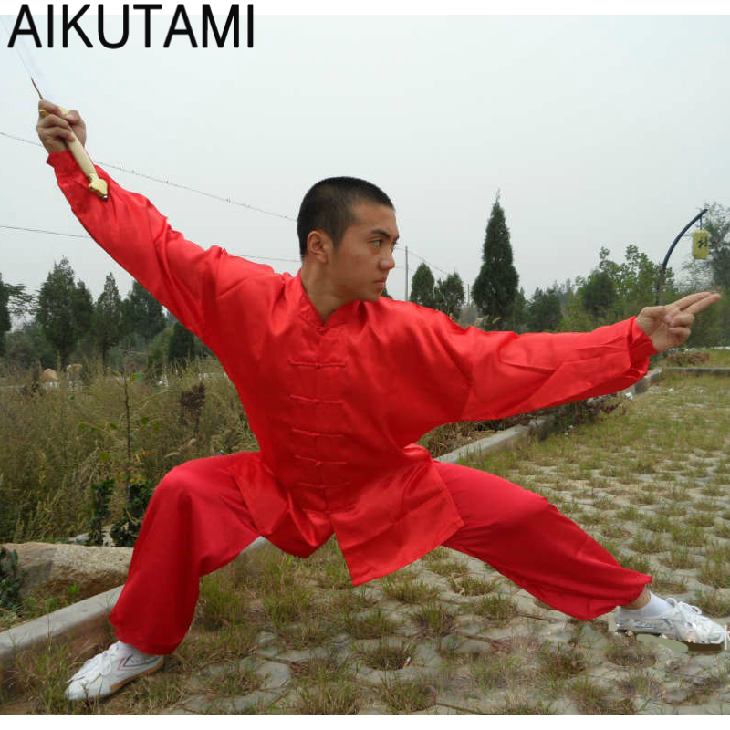 AIKUTAMI Men Wushu Uniforms Tai Chi Costume Solid Loose Long Sleeve Shirts And Pants Training Acting Chinese Shaolin Style