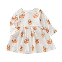 Puseky 0-24M Newborn Infant Baby Girls Animal Sloth Print Dress Tutu Party Beach Clothes Spring Autumn Long Sleeve Baby Sundress