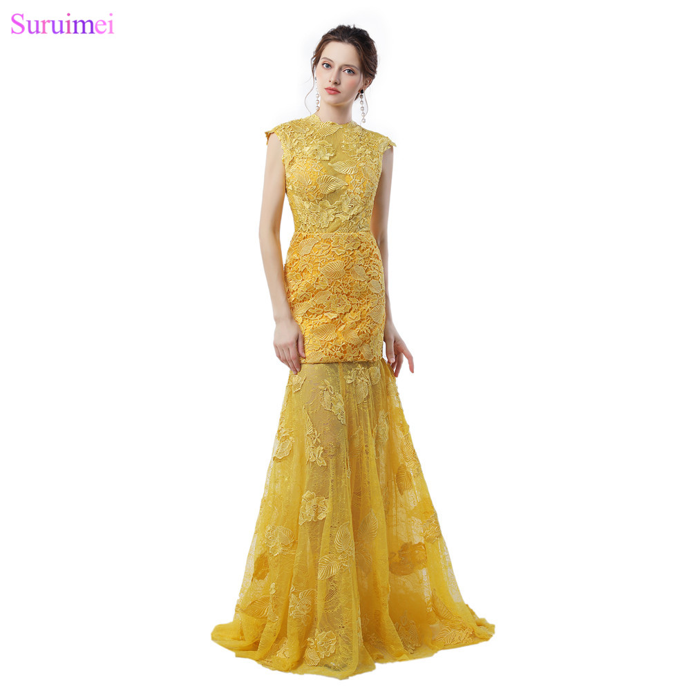 US $12.12 12% OFFExquisite Goldene Abendkleider mit Kappen hülsen  Blattform Spitze Applique Open Back Mermaid Abendkleid Vestidos Degolden  evening