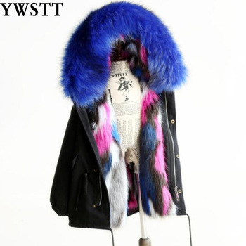 Girls Winter Coat Faux Fox Fur Outerwear 2018 New Kids Jackets Coats Removable Fox Fur Liner Children Thick Warm Hooded Coat