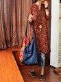 Женщины Урожай Цветочные Печати V шея Свободные Dress Дамы Китайский Ретро Дна Платья Женский Повседневная Хлопок Белье Dress