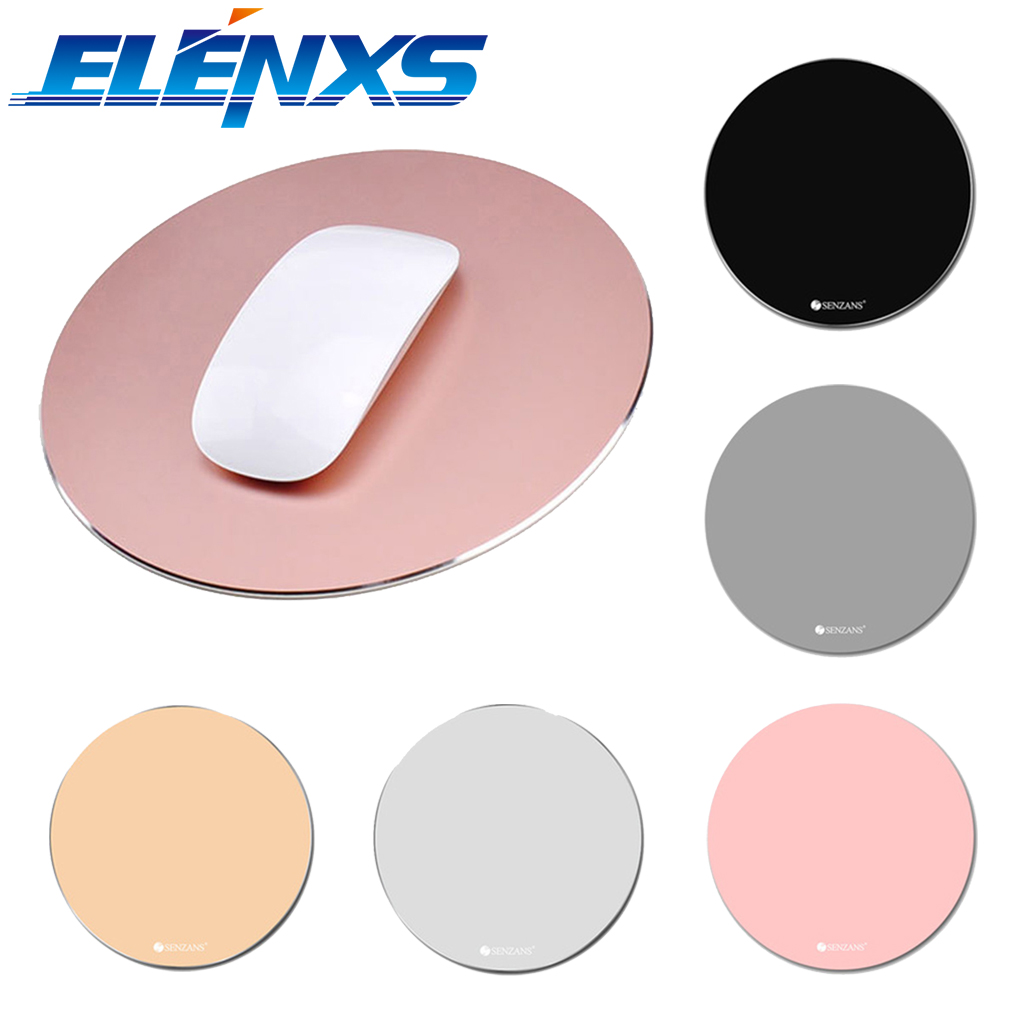 ELENXS Waterproof Gaming Mouse Pad Aluminum Alloy Metal Mouse Pad Round Slim Mousepad for MAC/PC Office Computer Table ...