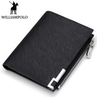 WILLIAMPOLO Men's wallet Genuine Leather Short Bifold Purse Small Metal Logo Slim Wallet Men Coin Pocket Pouch Black Male Wallet