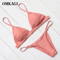 OMKAGI Brand High Quality Pink Orange Bikinis Women Low Waist Brazilian Padded Bikinis Set Swimwear Women