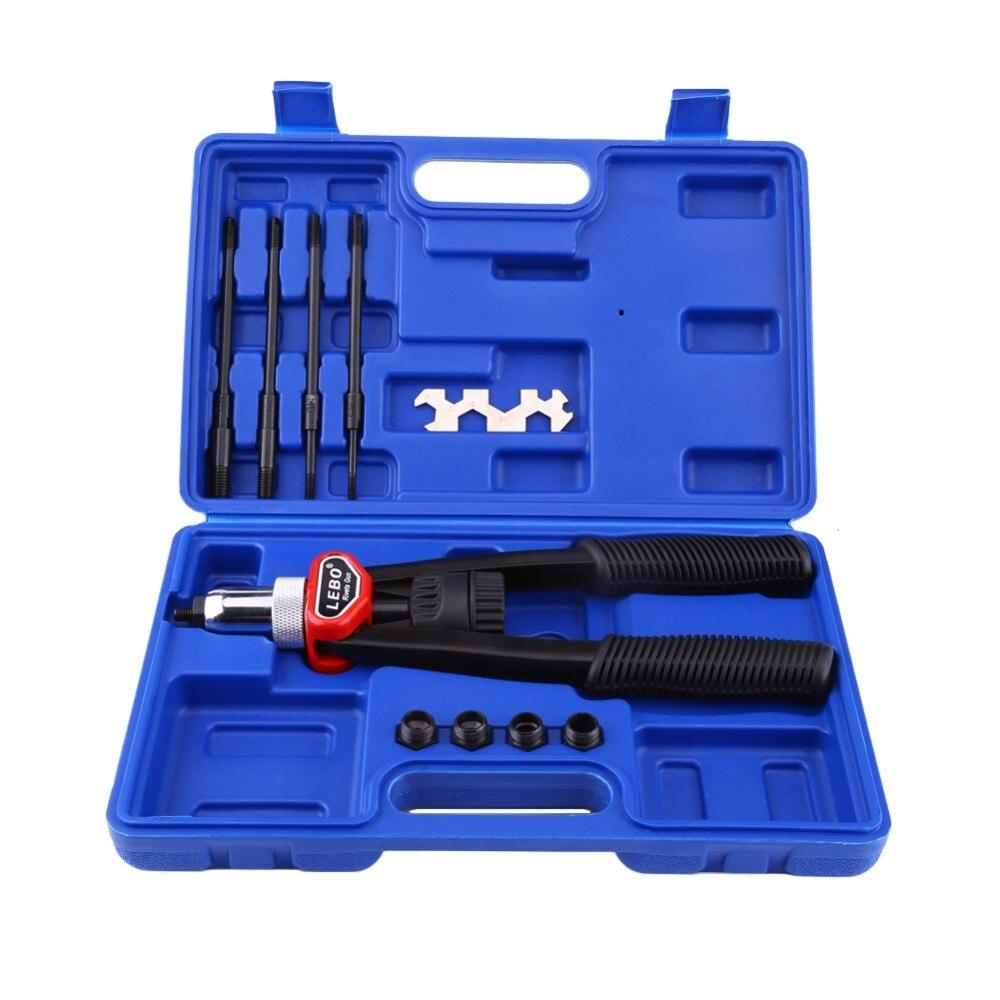 Set Of Hand Nut/Thread Riveter Gun Kit Tool Rivet Gun With Nosepieces 5mm, 6mm, 8mm, 10mm, 12mm