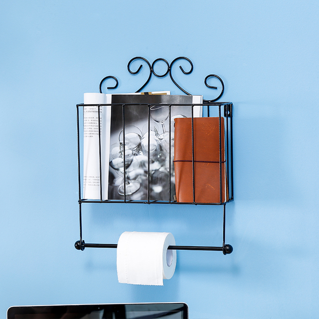 Metal Scrollwork Design Wall Mounted Bathroom Magazine Shelf Basket