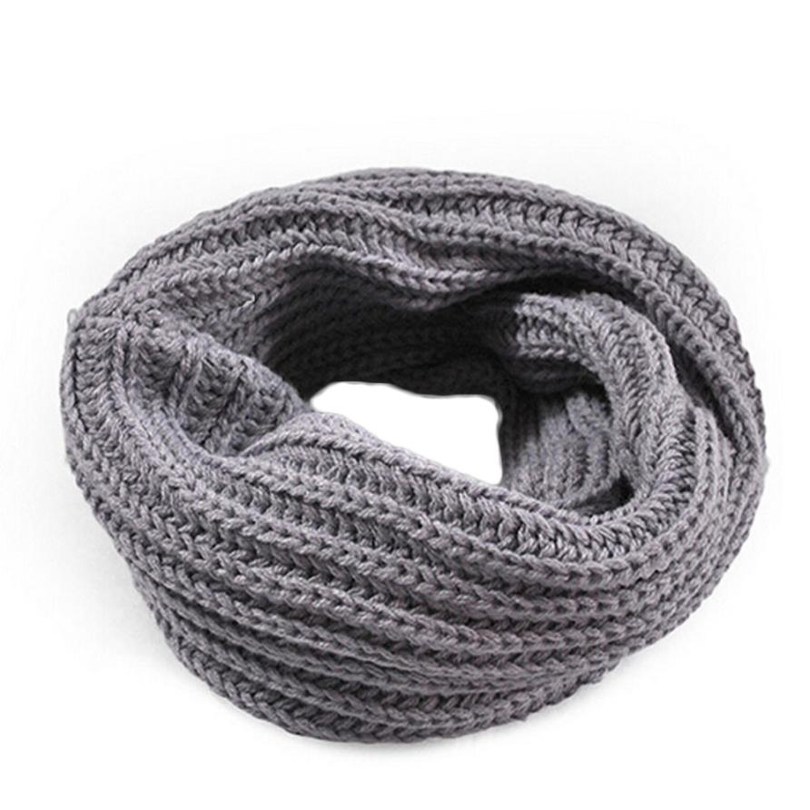 Осенне-зимний вязаный шерстяной шарф-шаль для мальчиков и девочек, теплый зимний шарф с воротником, Прямая поставка - Цвет: gray
