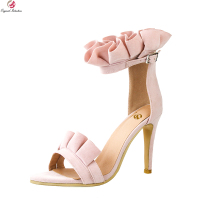 Original Intention New Elegant Women Sandals Fashion Pleated Open Toe Thin Heels Nice Pink Shoes Woman