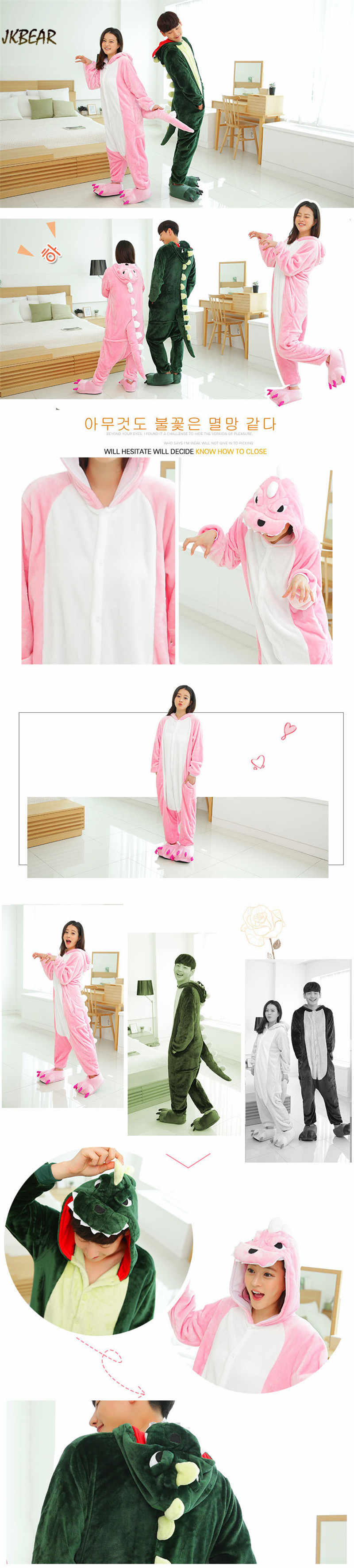 Cute Dinosaur Onesies for Teenagers and Adults Flannel Funny Animal Costume  Couples Matching Onesie Pajamas Plus 373ae2f20