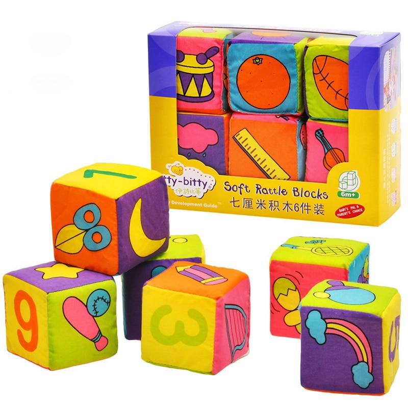 6pcs/Set Baby Cloth Building Blocks Set Baby Cloth Doll Soft Rattle Handbell Development Early Educational Toy 0-12 Month