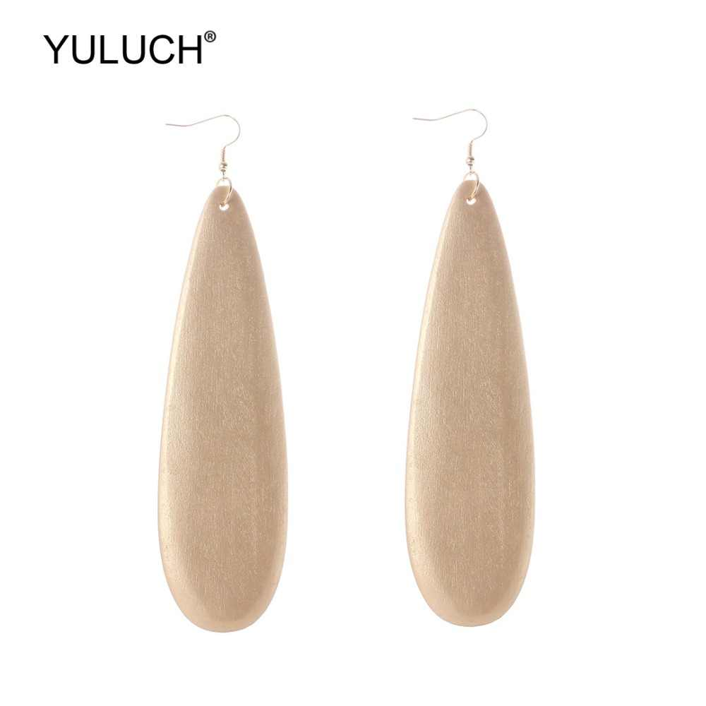 YULUCH 2019 Long Fashion Water Drop Pendant Earrings Trendy Wooden Gold Vintage Dangle Earings For Lady girl Jewelry Accessories