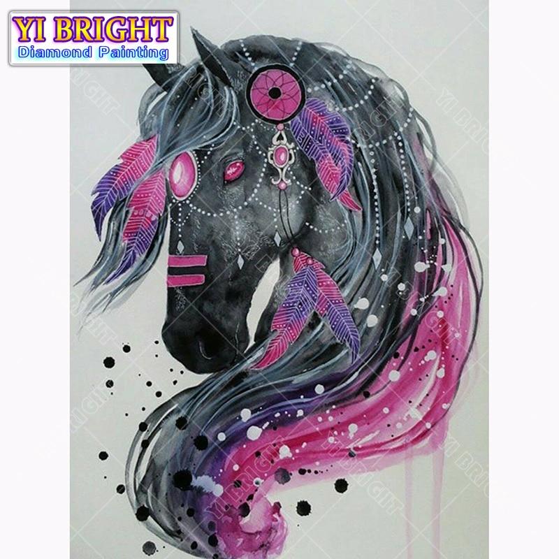 Diy diamond painting cross stitch Miss Black Horse Full Round Diamond embroidery Needlework Rhinestone Mosaic Crafts 1027
