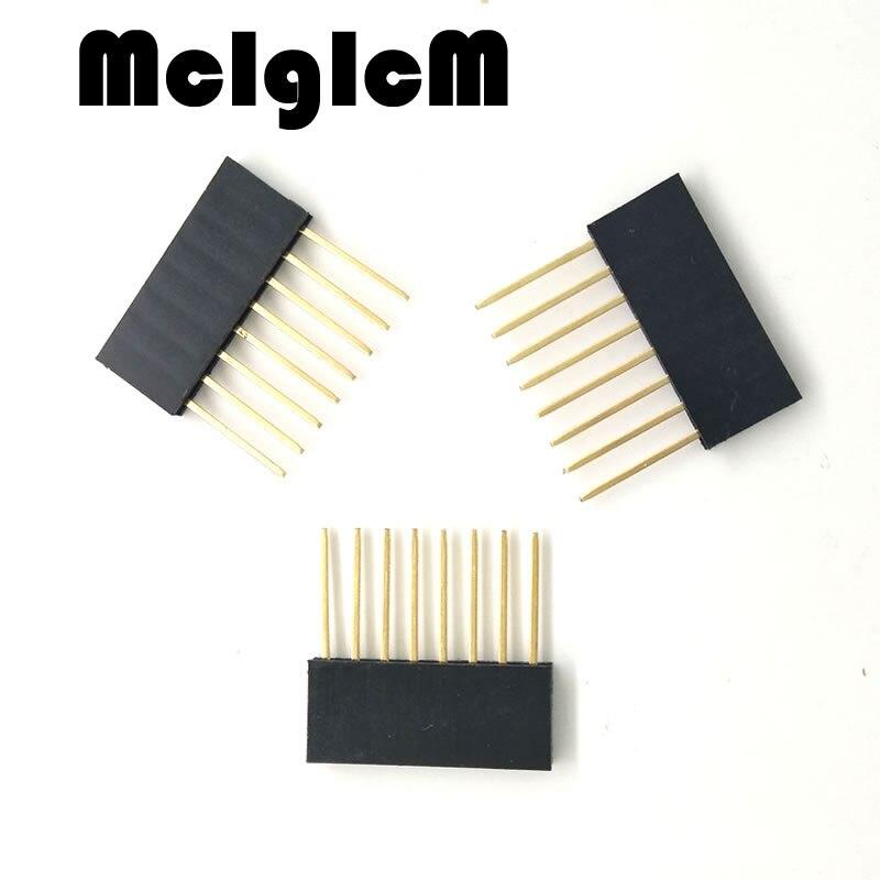 500pcs lot 8 pin 2 54MM 10MM Long Needle Female Pin Header Strip Stackable Header 8pin