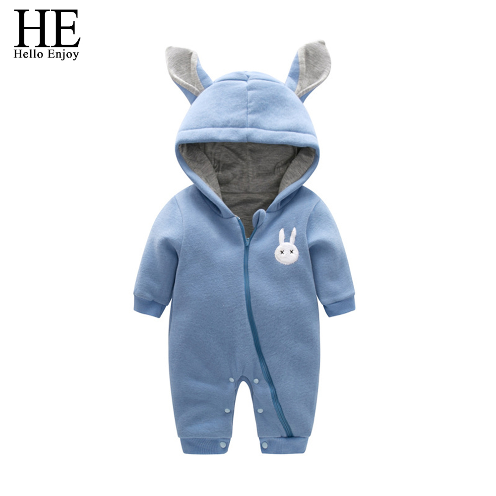 HE Hello Enjoy winter baby clothing newborn baby girl clothes boy warm Hooded Jumpsuit newborn clothes Baby Costume rompers 2017 baby products bebe girl bebe boy newborn clothes baby costume thick warm infant baby rompers kids winter clothes jumpsuit hooded