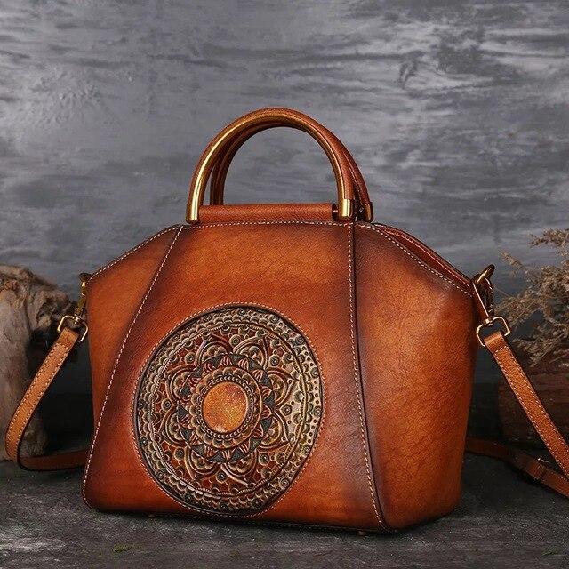 49c2425d32 Vintage Handmade Flower Totes Handbag 3D Designer Genuine Leather Women Bag  real leather high quality fashion