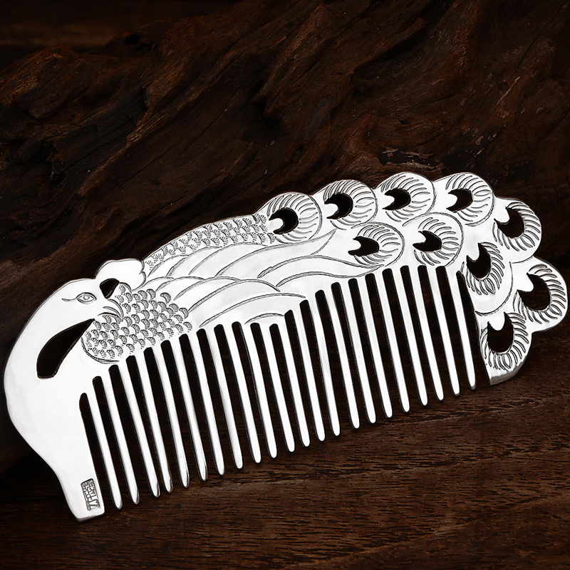 Здесь продается  Pure Sterling Silver Women Stamped Carved Peacock Hair Comb With Certificate  Ювелирные изделия и часы