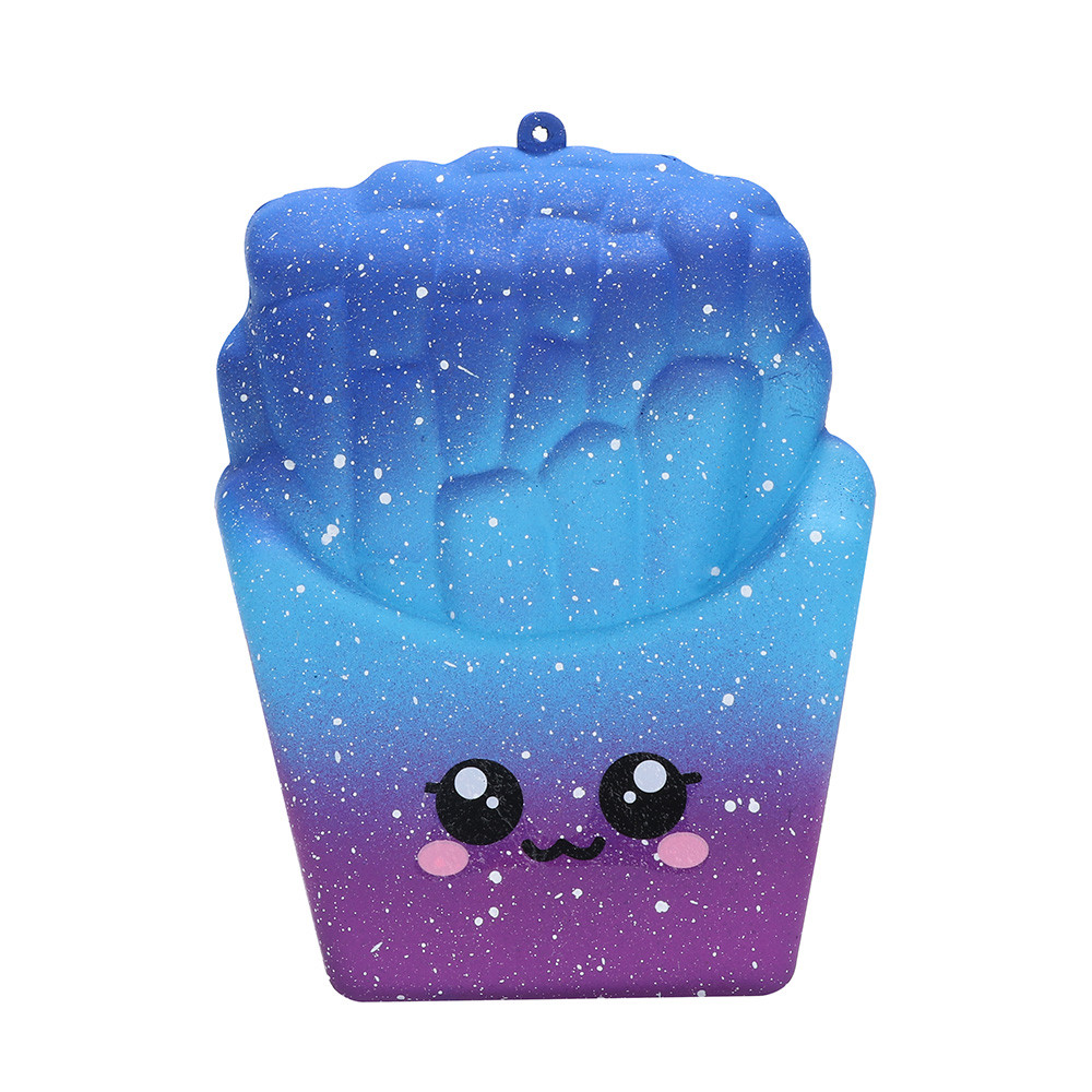 8cm Cute Squishy Toys Galaxy French Fries Scuishy Of Food Stress Reliever Squishies Slow Rising Toy For Kids Drop Shipping A8713