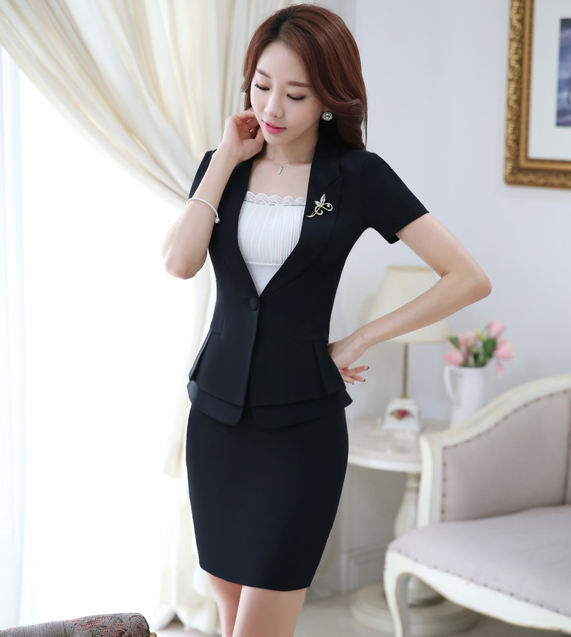 wide selection of colors hot product new lifestyle US $36.29 15% OFF|Novelty Black Fashion Slim Professional Business Women  Suits Jackets And Skirt Formal OL Styles Summer Ladies Blazers Set-in Skirt  ...