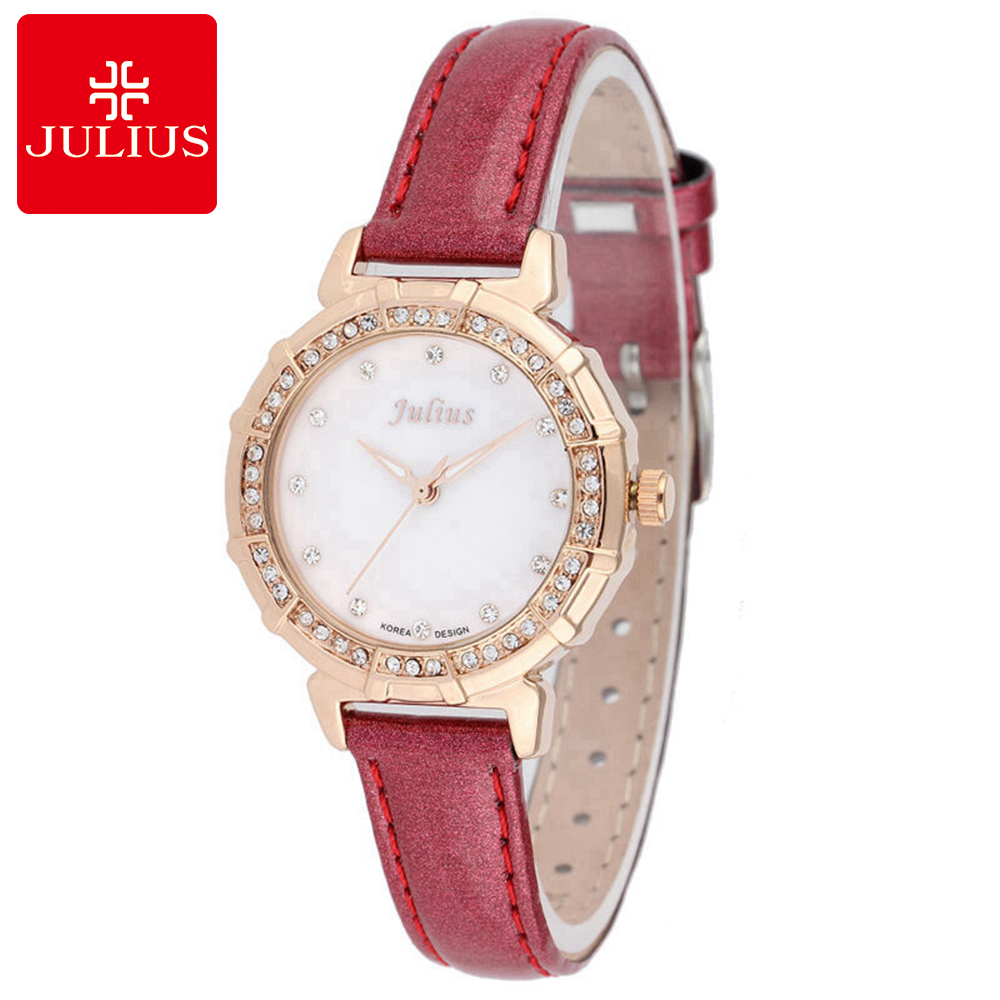 Luxury Genuine Leather Wristwatch Women Dress Rhinestone Watches Fashion Casual Quartz Watch Brand Julius 757 Best Clock Gift meibo brand fashion women hollow flower wristwatch luxury leather strap quartz watch relogio feminino drop shipping gift 2012