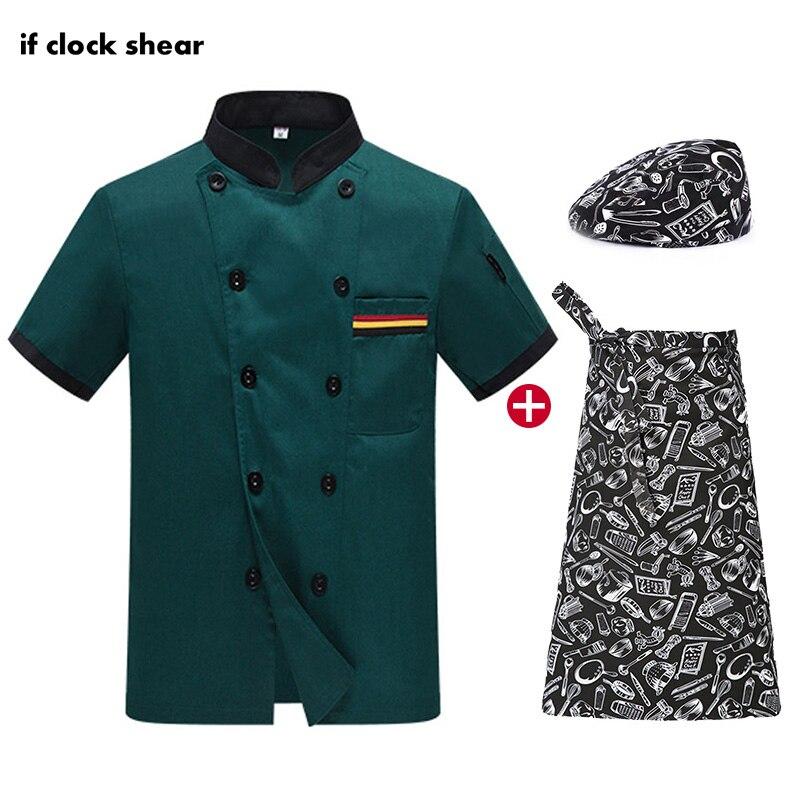 Unisex Short Sleeve Bakery Chef Jacket Catering Work Clothes Hat Apron Shirt Men Chef Wholesale Restaurant Uniform Shirts M-4XL