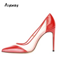 Mesh Patchwork Pumps Aiyoway Sexy WomenSlip On Autumn Spring Party Clubwear Work Women Shoes 2018