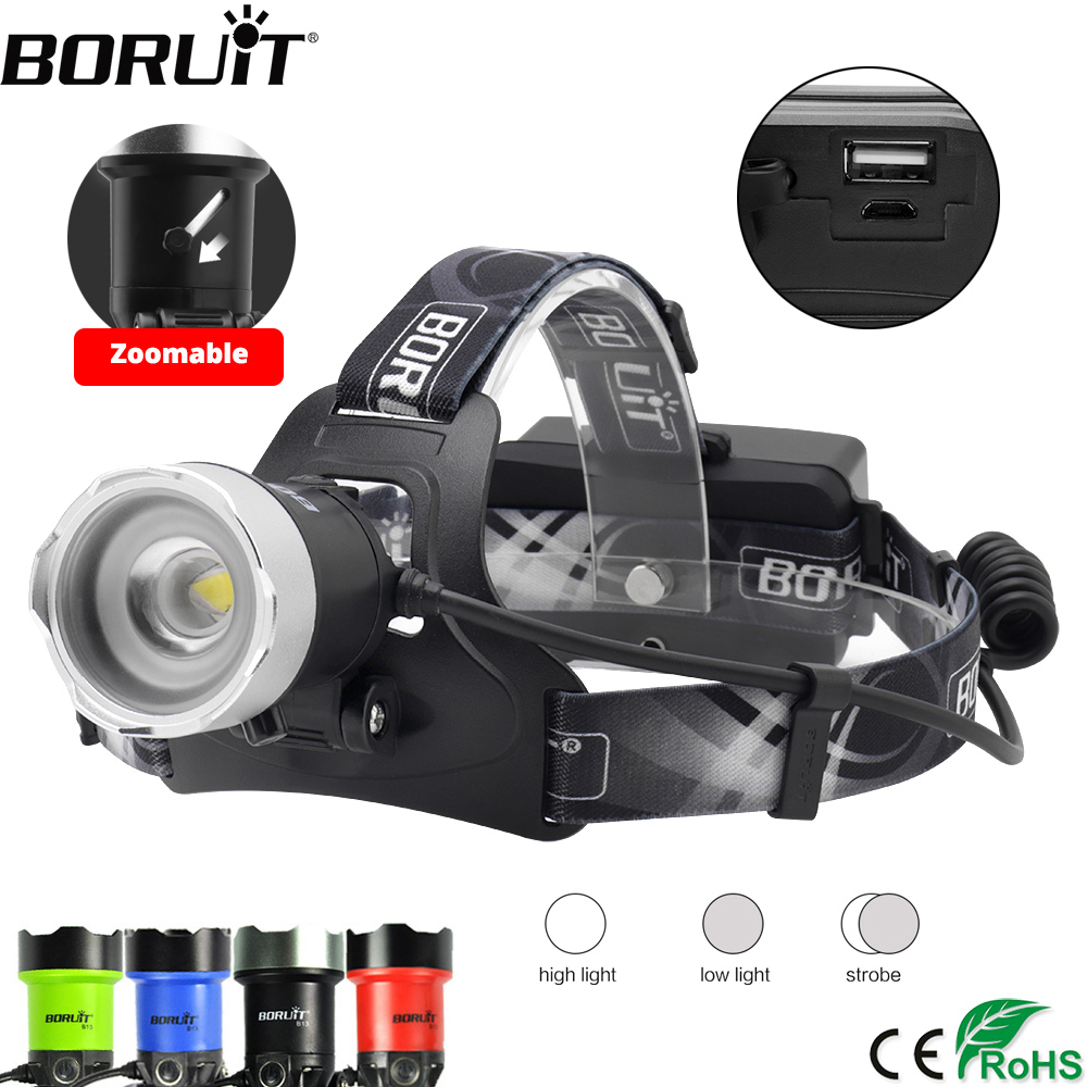 BORUIT Powerful XM-L2 LED Headlamp USB Charge Power Bank Headlight Zoomable Head Torch Camping Hunting Flashlight 18650 Battery