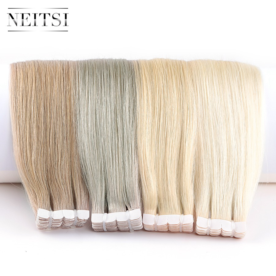 Neitsi Mini Tape In Human Hair Adhesive Extensions None Remy Straight Skin Weft Natural Hair 12