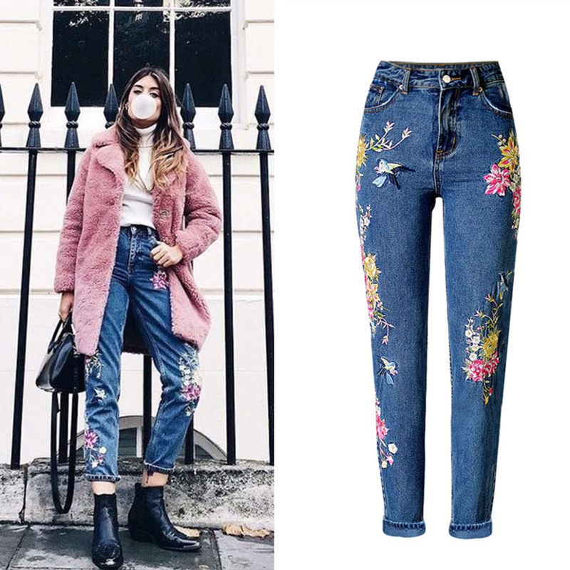 2019 New Fashion Women's Clothing Straight Long Jeans Pants 3D Flowers Embroidery High Waist Ladies Slim Jeans Legging Trousers