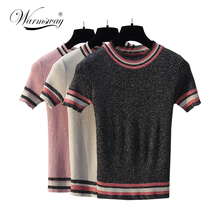 2018 New Summer lurex T-Shirt European Style black tinsel T Shirt Women Street Wear Striped Casual Tee Shirts B-054