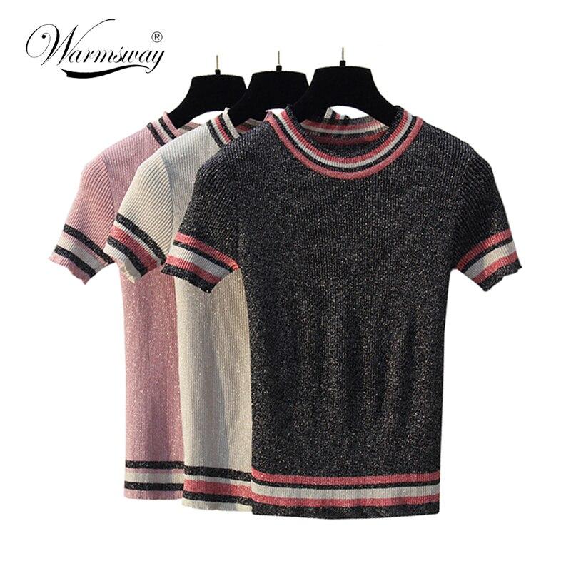 2018 nuevo verano lurex Camiseta estilo europeo negro oropel T camisa mujeres ropa de calle a rayas camiseta Casual camisas B-054