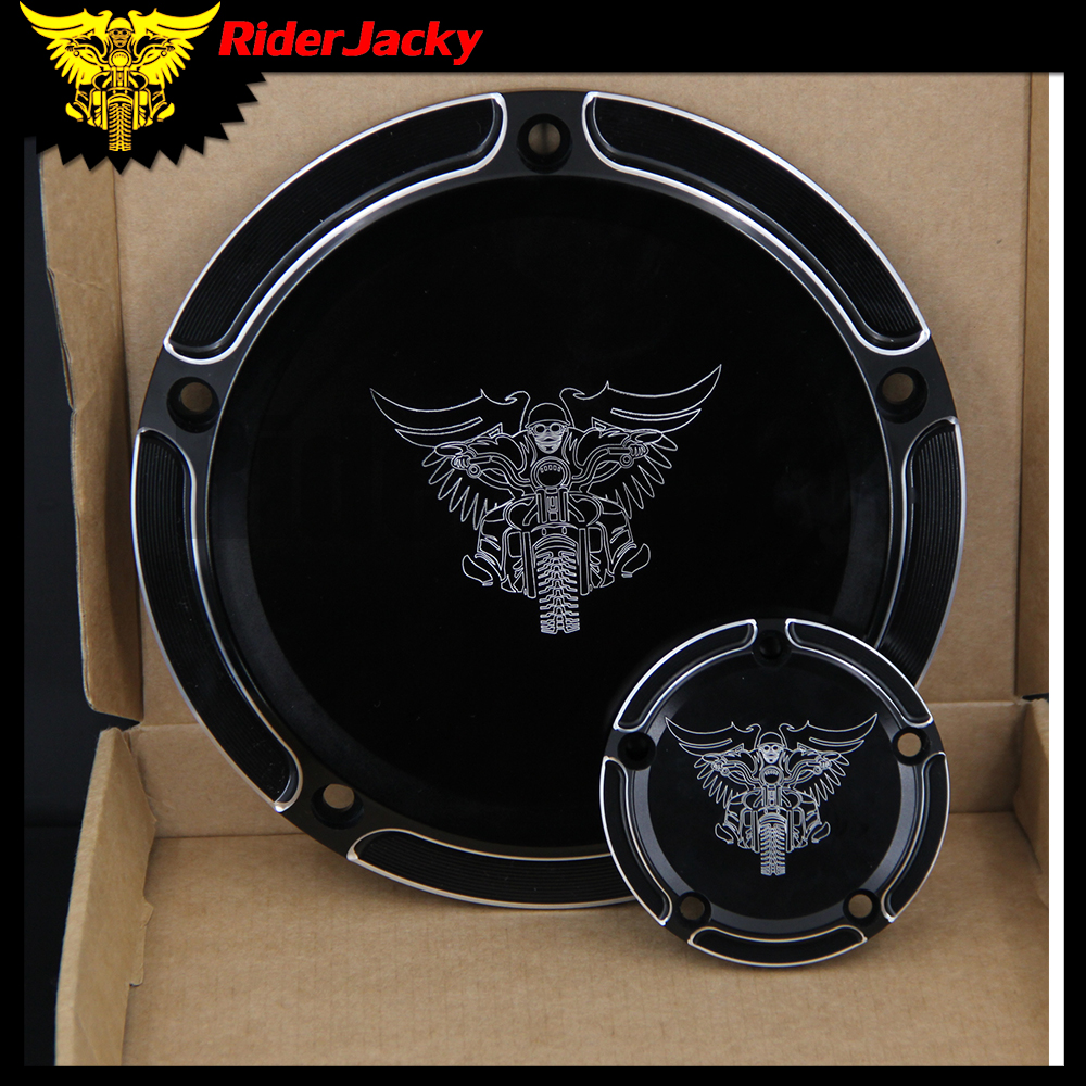 RiderJacky Beveled Black 5 Holes CNC Motorcycle Derby Cover & Timing Timer Cover For Harley Road King Softail Dyna FLHRS FLTFB motorcycle cnc 6 hole beveled derby cover