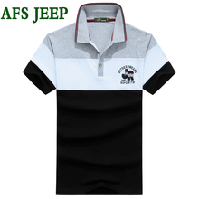 AFS JEEP polo shirt men brand clothing Casual Solid Polo Shirts Clothing Short Sleeve Fashion Embroidery Polo Shirt Mens 50