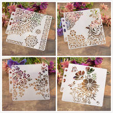 "4Pcs/Lot 13cm 5.1"" 1/4 Circle Edge DIY Layering Stencils Painting Scrapbook Coloring Embossing Album Decorative Card Template(China)"