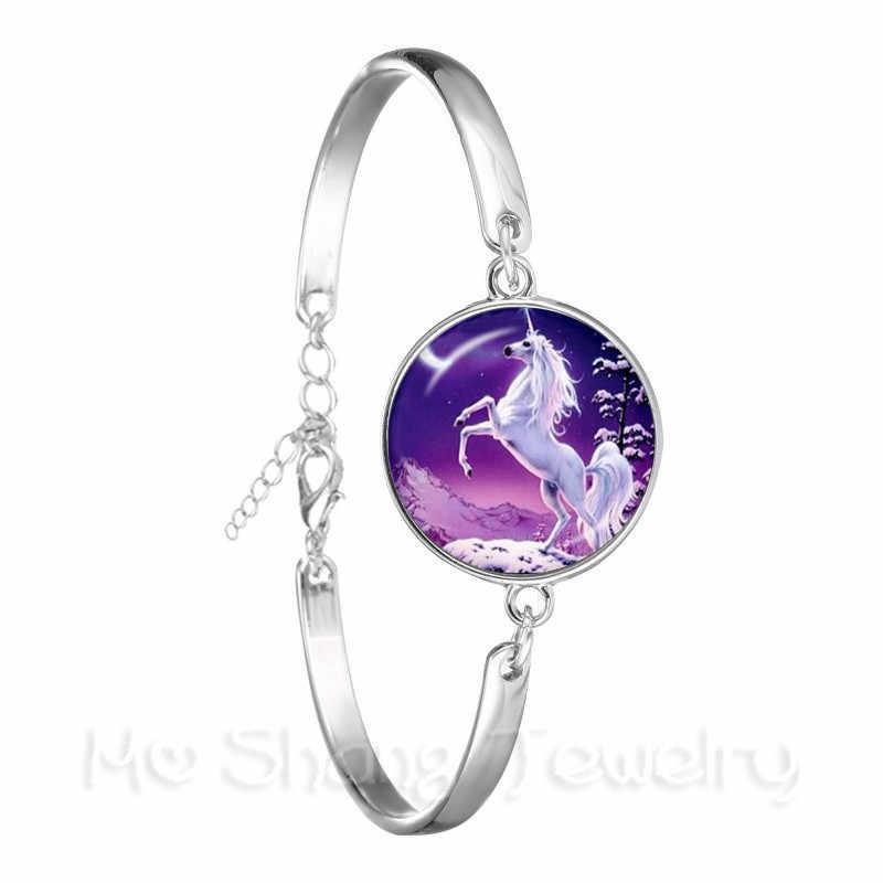 خمر الحصان صورة يونيكورن سحر اللانهائي التفاف سلسلة سوار الفضة مطلي الإسورة للنساء الرجال أفضل هدية
