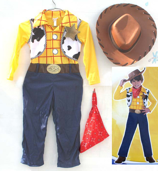 Halloween party cosplay children child toy story woody costume clothes hat vest cowboy costume for 3-12 years old  kid