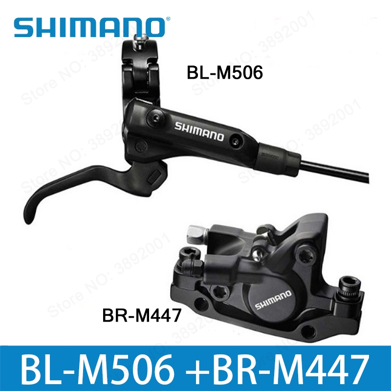 SHIMANO M506+M447 MTB Bike Hydraulic Disc Brake Set Clamp Mountain for Brake Bicycle Disc Brake & Brake Sheet Screws shimano m315 mtb bike hydraulic disc brake set clamp mountain brake bicycle disc brake original bicycle brakes free ship