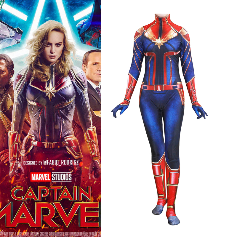 Captain Marvel Cosplay Tights Costume Carol Danvers Spandex Jumpsuit Lycra Full Body Bodysuit Halloween
