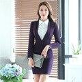 La novedad de Moda Púrpura Formal Uniforme Diseño Profesional Otoño Invierno Falda de Las Mujeres de Negocios Blazers Chaquetas Y Trajes de Falda Conjunto