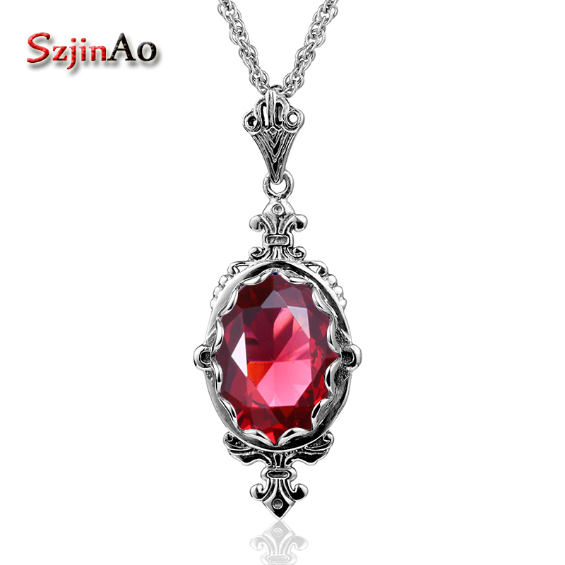 Szjinao Fashion Statement Anchor Pendant Necklaces For Women Vintage Ruby Solid 925 Sterling Silver Pendants Fine Jewelry